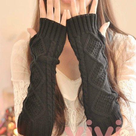Girls Long Gloves (1 Pair Autumn Winter Women Knit Gloves Arm Wrist Sleeve Warmer Girls Rhombus Long Half Winter)