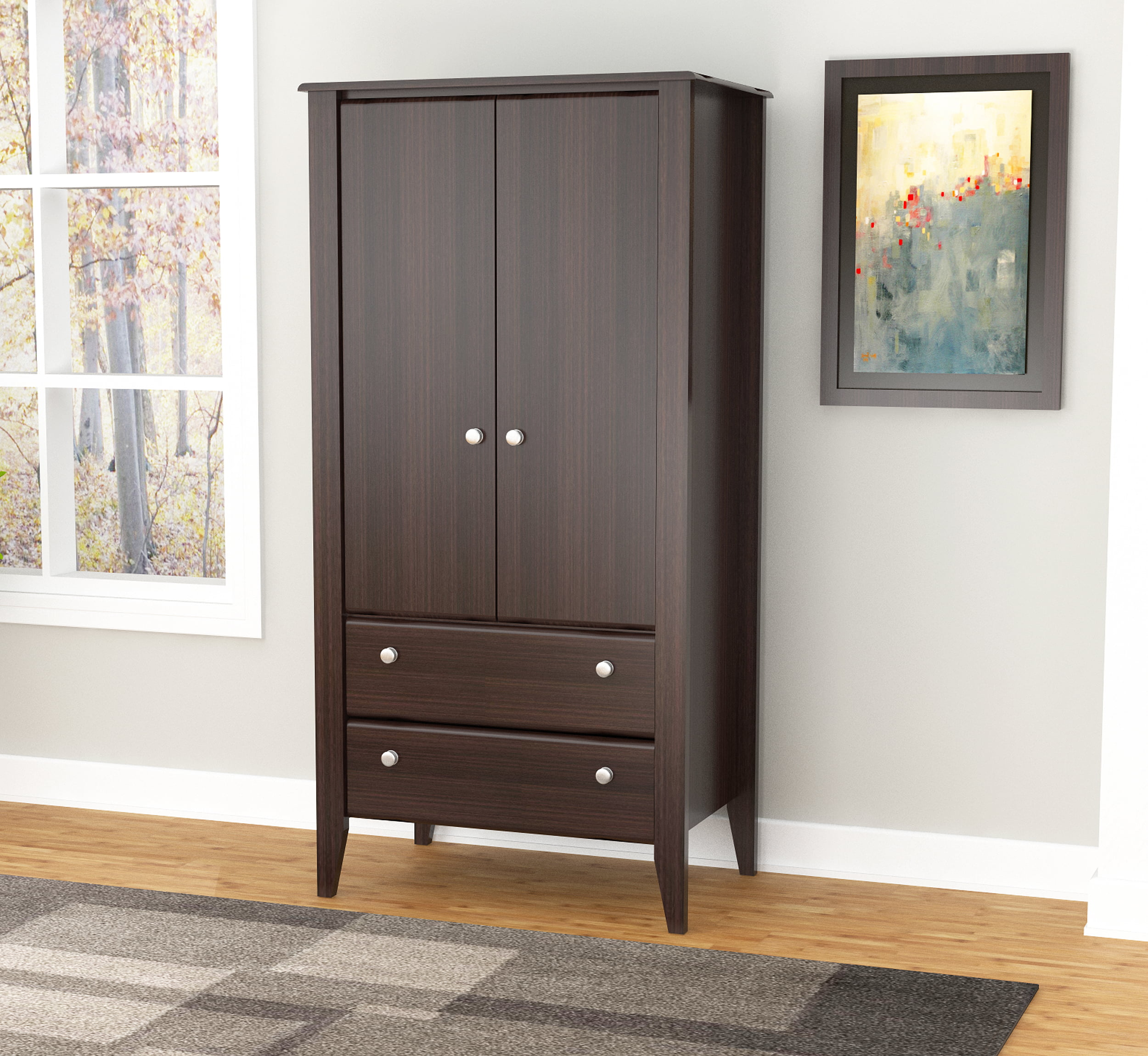 Inval Modern Espresso Two Door Two Drawer Wardrobe Armoire by Inval