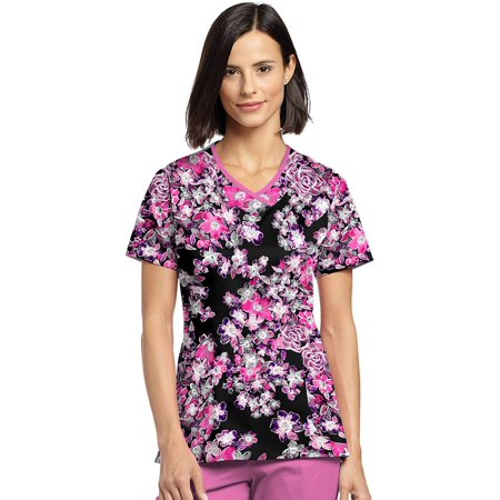 Allure by White Cross Women's Curved V-Neck Floral Print (Print Tips)