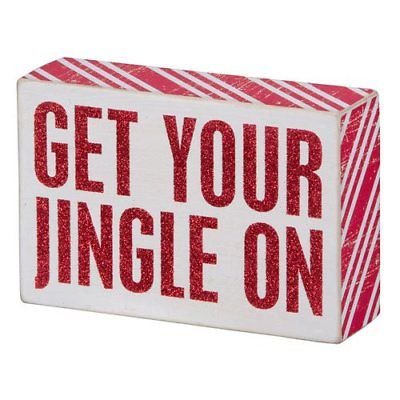 GET YOUR JINGLE ON Wooden Box Christmas Sign 5.75