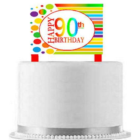 CakeSupplyShop Item#AE-091 Happy 90th Birthday Rainbow Elegant Cake Decoration Topper