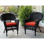 Jeco Wicker Chair in Black with Tan Cushion (Set of 2)