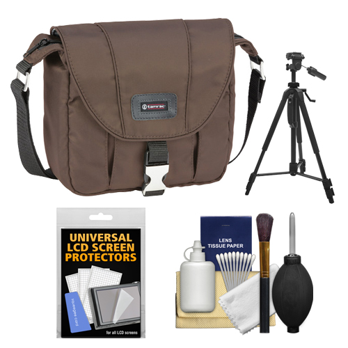 Tamrac 5421 Aria 1 Compact / ILC Camera Shoulder Bag (Brown) with Tripod + Cleaning Kit for Canon, Nikon, Olympus, Panasonic, Fuji & Sony Alpha Cameras