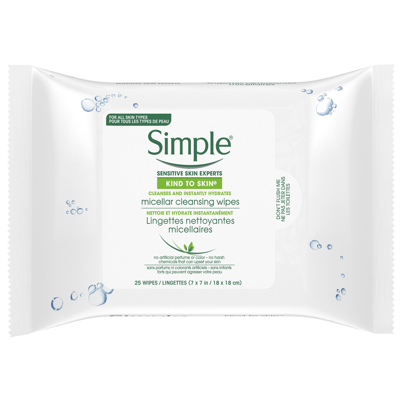 Simple Micellar Facial Wipes, 25 ct