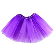 The Elixir Kids Birthday Tutu Skirt for Girls Ballet Dance Tutus Tulle for 2 - 8 years Elastic Waist, Purple Multi Layers