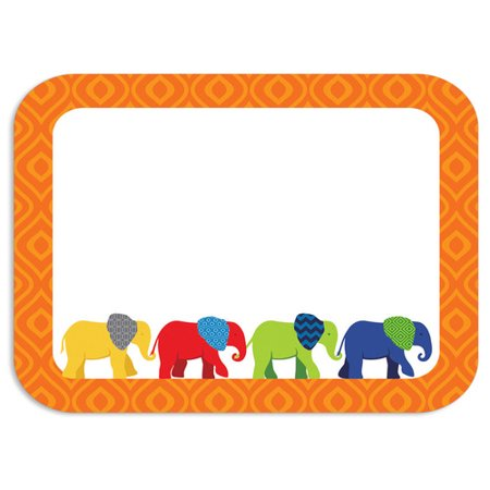 Carson Parade of Elephants Colorful Name Tags Brighten your classroom with these fun self-adhesive name tags from the Parade of Elephants collection! Stay organized and get creative using these ready-to-use name tags for games, storage boxes, charts, folders, and more. The name tags are also perfect for class trips or open houses. Look for coordinating products in this design to create an exciting and cohesive classroom theme! Pack includes forty 3  x 2 1/2  self-adhesive name tags.