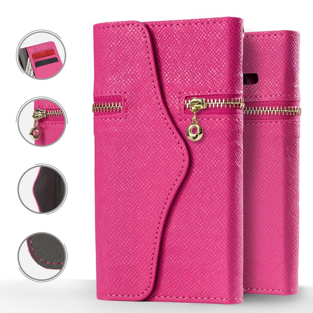 For Samsung Galaxy S7 - Horizontal Flap Pouch w/ Credit Card Pockets w/ Zipper Pocket - Black ZFHP