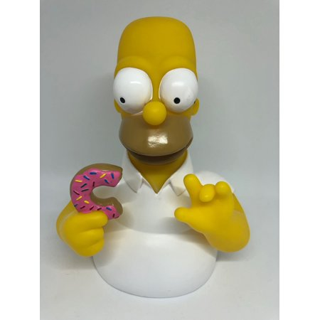 Homer Simpson Bust (Universal Studios The Simpsons Homer with Donut Bust Coin Bank New)