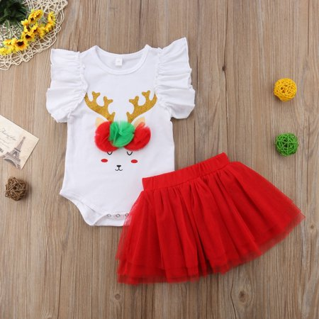 Princess Dress Outfit - Toddler Baby Girl Princess Bodusuit Romper Top Lace Tulle Tutu Skirt Dress Christmas Outfit 2Pcs