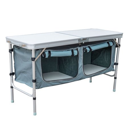 Base Camp Storage - Outsunny 48in. Aluminum Folding Storage Organizer Camp Table with Carrying Handle