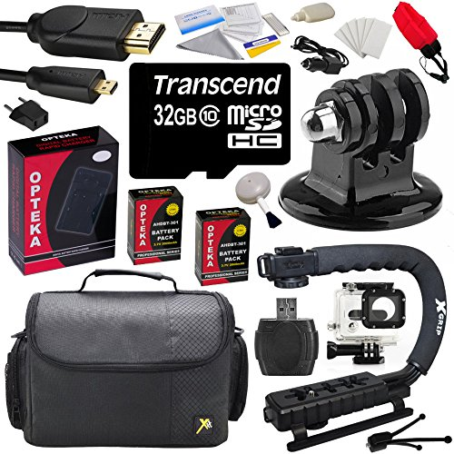 GoPro Advanced Kitwith 32GB MicroSDHC Memory Card, x2 AHDBT-301, Charger, HDMI Cable, Tripod Adapter, Action Stabilizing Grip, Case, Floating Strap, Underwater Housing, Cleaning Kit with Bonus Tripod
