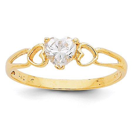14K Yellow Gold White Topaz Birthstone Ring - image 2 of 2