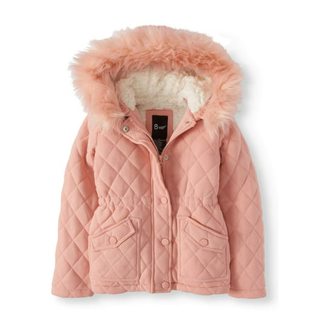 Quilted Fleece Jacket with Hood and Removable Fur Trim (Little and Big - Toddler Girls Hooded Quilted Coat