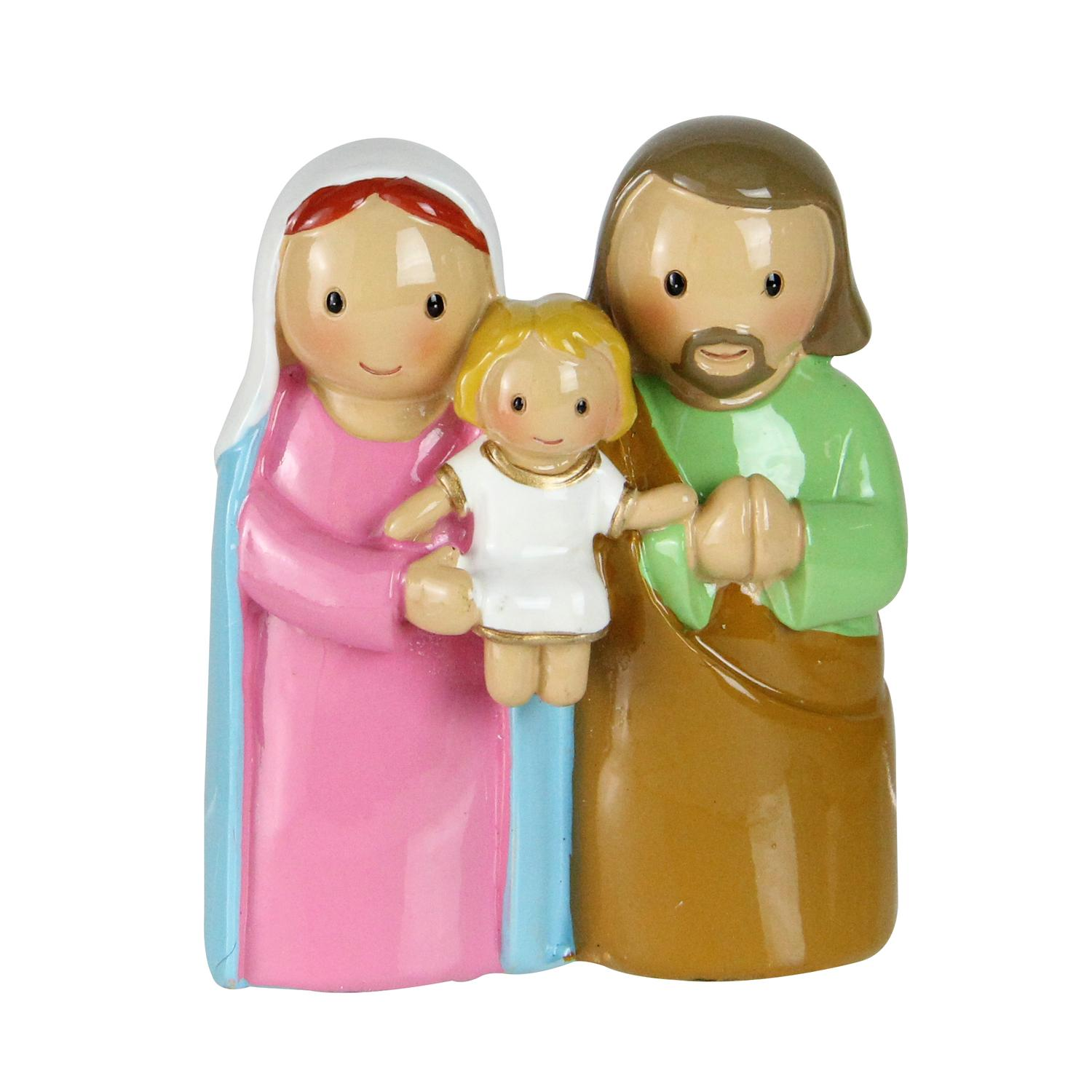 "3"" Mary, Joseph and Baby Jesus Colorful One Piece Embraced Holy Family Figure"