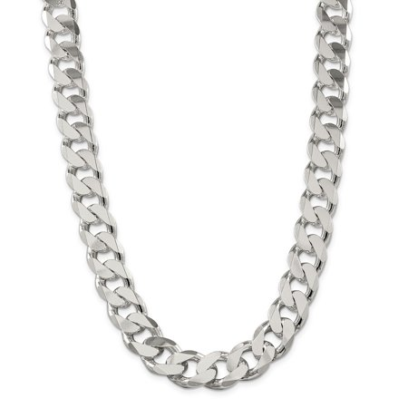 Lex & Lu Sterling Silver 16.2mm Curb Chain Necklace or Bracelet Sterling Silver Curb Chain Bracelet