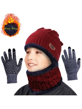 IPOW Winter Beanie Hat Scarf Set Warm Knit Hat Thick Knit Skull Cap For Men Women Kids (Red) Only Hat and Scarf
