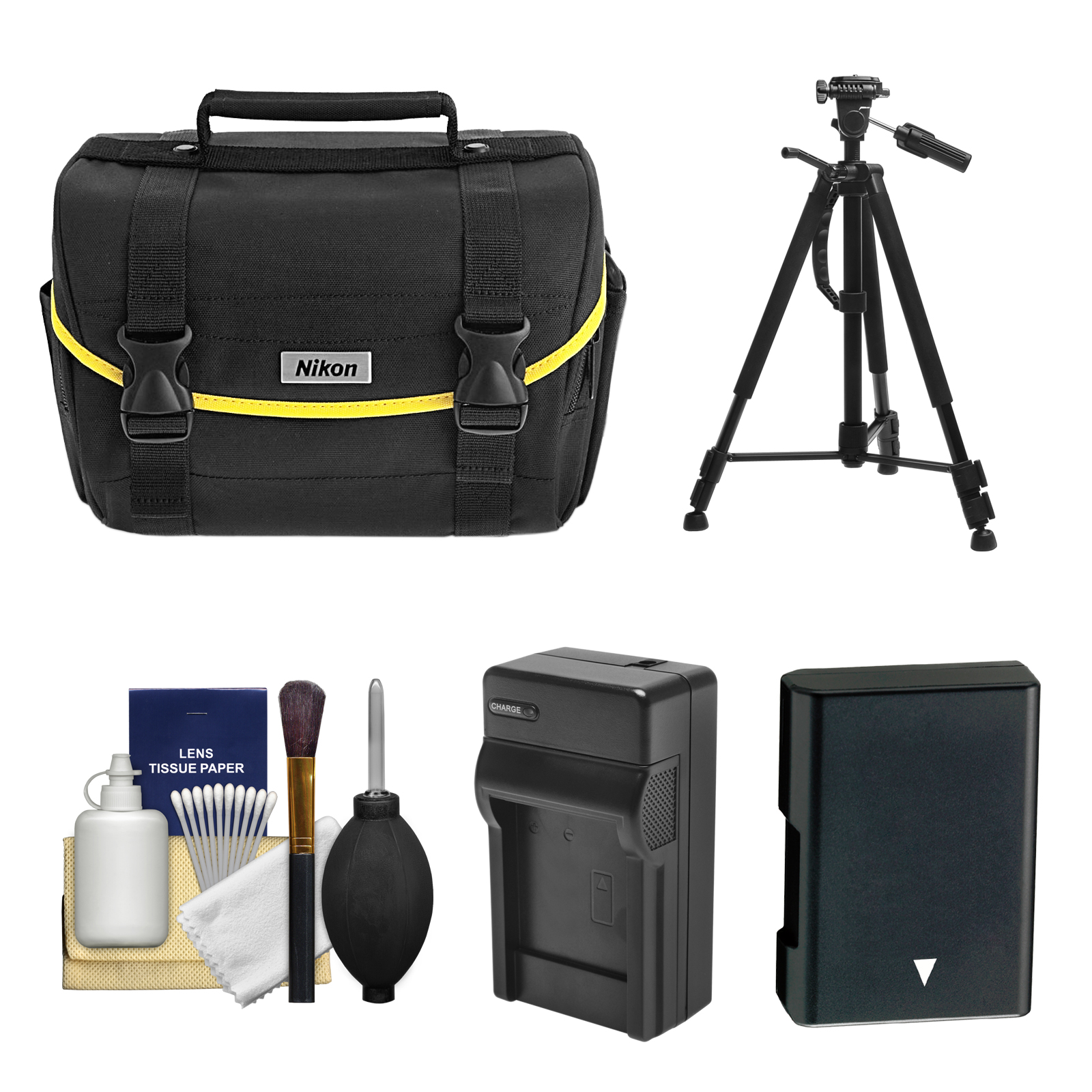 Nikon Starter Digital SLR Camera Case - Gadget Bag with EN-EL14 Battery + Charger + Tripod + Kit for D3100, D3200, D3300, D5100, D5200, D5300