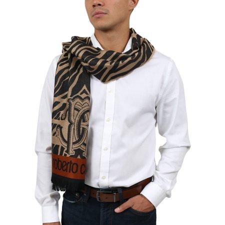 Roberto Cavalli ESZ057 00508 Taupe Wool Blend Tiger Print Mens Scarf