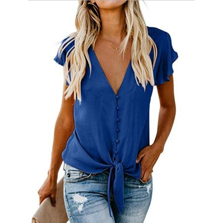 T Shirts For Women Summer Chiffon Casual Shirt Single-Breasted Button Down V-Neck Ruffle Sleeve Tie Knot Solid Vest Blouses Tank