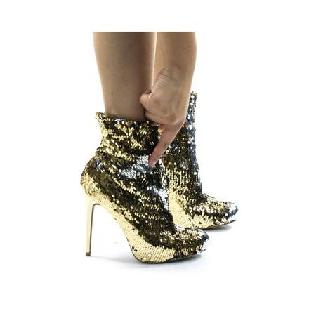 Loren02 by Wild Diva, Metallic Reversible Sequins High Heel Dress Bootie Silver Metalic Strap High Heel