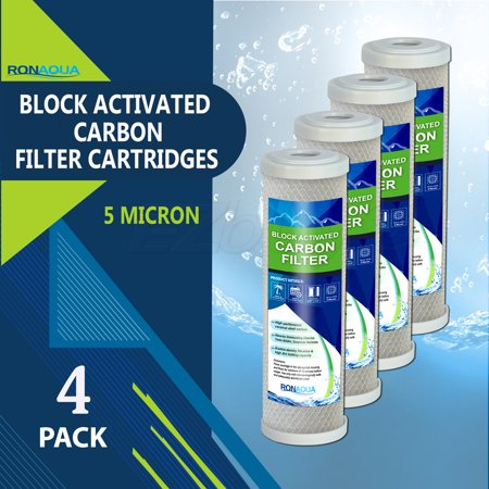 "Block Activated Carbon Coconut Shell Water Filter Cartridge 5 Micron for RO & Standard 10"" Housing by Ronaqua (4 Pack)"
