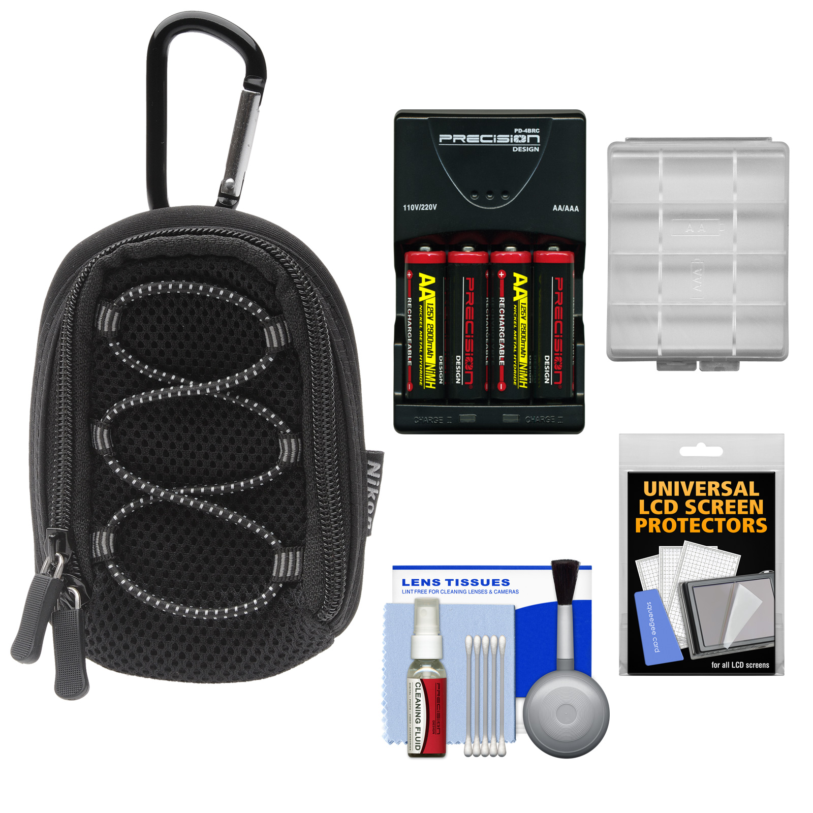 Nikon Coolpix All Weather Sport Digital Camera Case with AA Batteries & Charger + Kit for L27, L28, L610