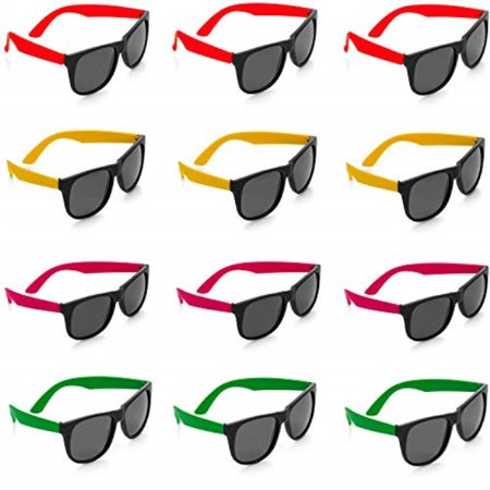kidsco neon sunglasses - 12 pack green, orange, yellow and pink, gift, party favors, toys, goody bag favors, fun for - Child Party Favors