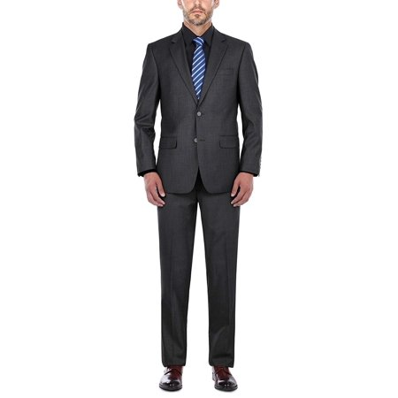 Men's suit Classic Fit Italian Fashion Two-Button Solid Two-Piece Suit For Men(Charcoal)