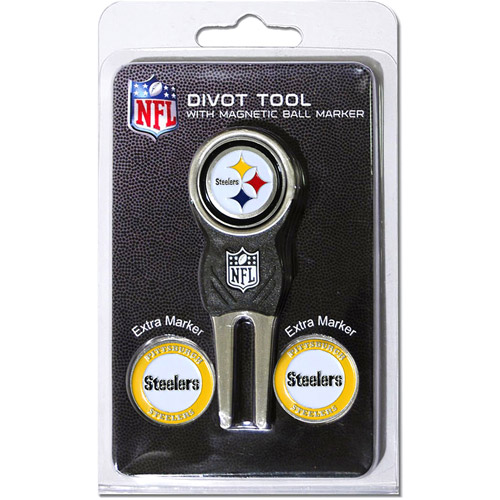 Team Golf NFL Pittsburgh Steelers Divot Tool Pack With 3 Golf Ball Markers