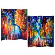 Roundhill Furniture 4-Panel Double Sided Painted Canvas Room Divider Screen, Night Street, 17 x 71in, Multicolor