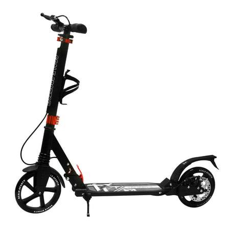 Adult Black Kick Scooter Portable Lightweight Adjustable Suspension Disc Hand Brake ()