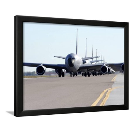 KC-135 Stratotankers in Elephant Walk Formation On the Runway Framed Print Wall Art By Stocktrek Images
