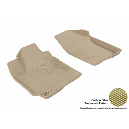 3D Maxpider 2010 2013 Kia Forte Sedan Hatchback Front Row All Weather Floor Mats In Tan With Carbon Fiber Look