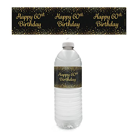 60th Birthday Party - Gold & Black Water Bottle Labels (Set of 20) - Black And Gold 60th Birthday Decorations