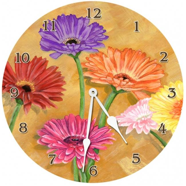 Lexington Studios 23-Large Round Clock:23064-LR Gerber Daisy 18 inch  Round clock