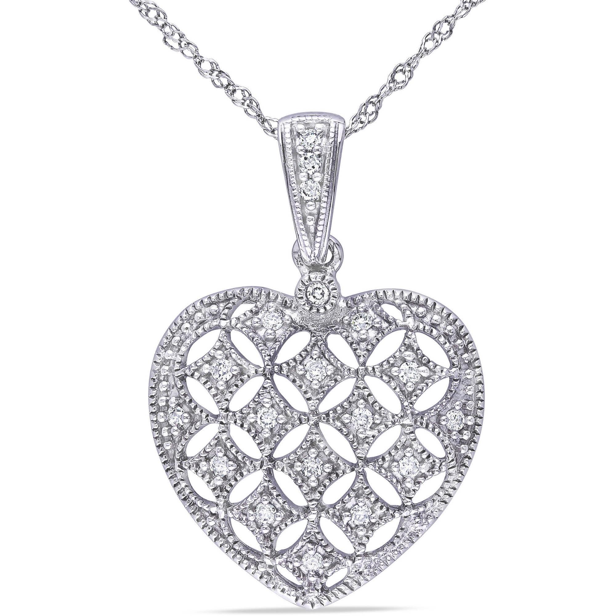 Miabella 1 7 Carat T.W. Diamond 14kt White Gold Heart Pendant by Delmar Manufacturing LLC