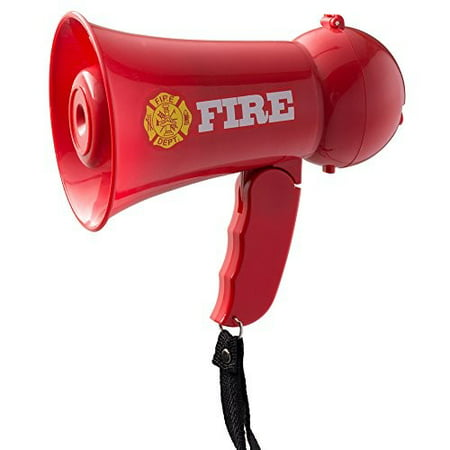 Pretend Play Kids Fire Fighter's Megaphone (Bullhorn) with Siren Sound and Handheld Mic Toy](Mini Cheer Megaphones)