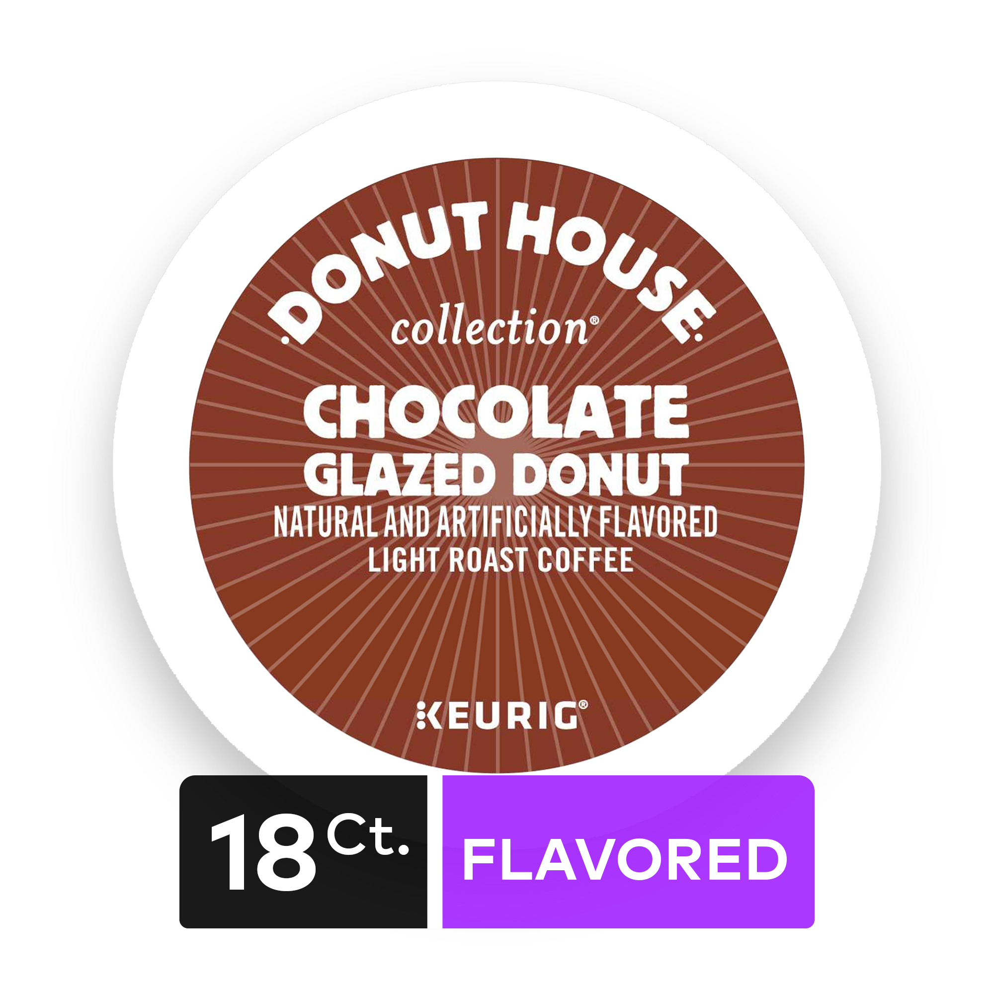 Donut House Collection Chocolate Glazed Donut Keurig Single-Serve K-Cup Pods, Light Roast Coffee, 18 Count