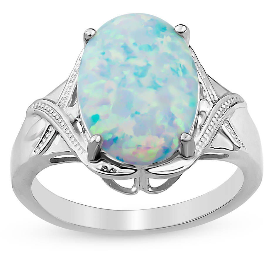 Created Opal Sterling Silver Oval X Shank Ring by Helen Andrews Inc.