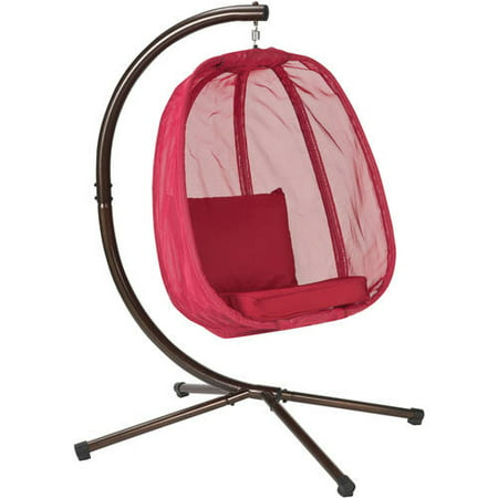 Hanging Egg Chair with Stand - Red - FlowerHouse