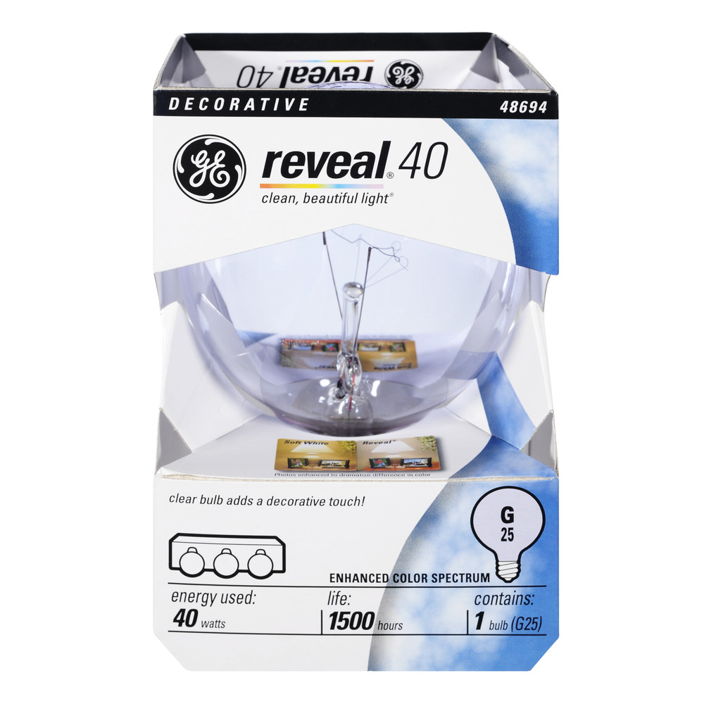 GE Reveal 40 Watt Decorative Light Bulb, 1.0 CT