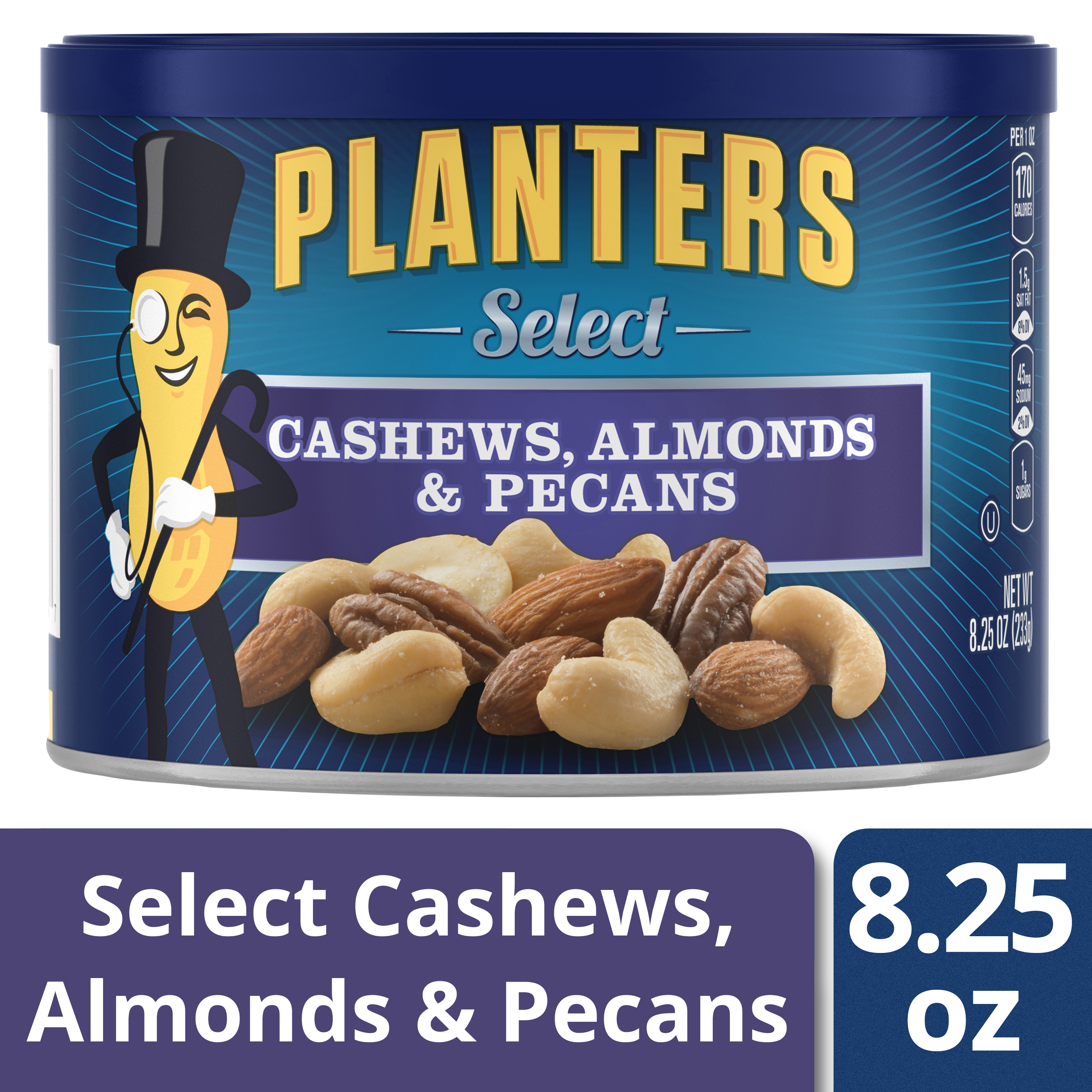 Planters Select Cashews, Almonds & Pecans 8.25 oz Canister