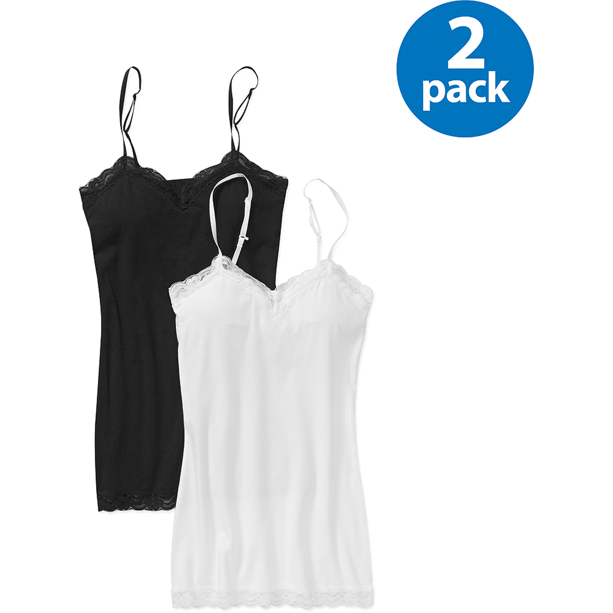 Juniors' Plus Lace Trim Cami 2-Pack