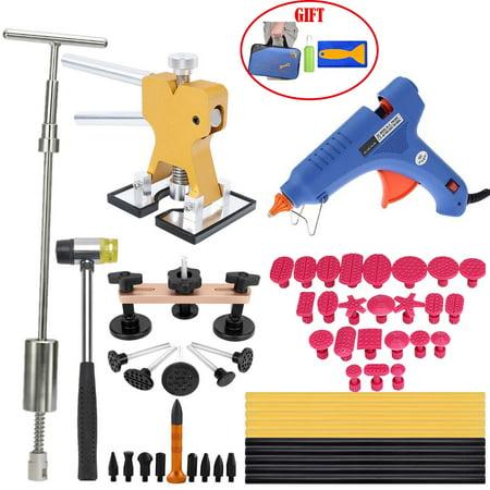 Paintless Dent Repair Tools Dent Puller Kits Pops a Car Dent Removal Kit, Golden Lifter, Slide Hammer & Glue Gun for Automobile Body Motorcycle Refrigerator