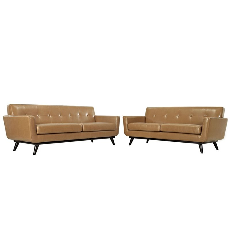 Engage 2 Piece Leather Living Room Set, Tan