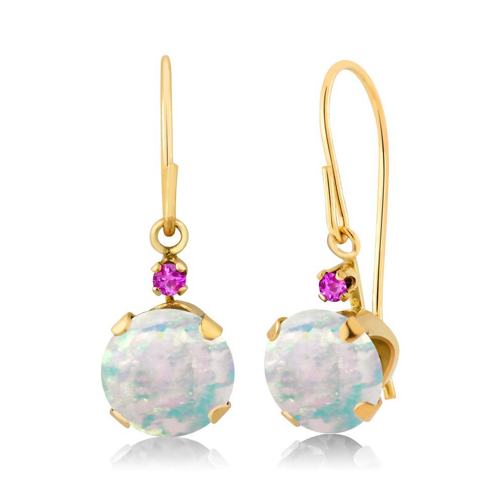 1.34 Ct Round White Simulated Opal Pink Sapphire 14K Yellow Gold Earrings by