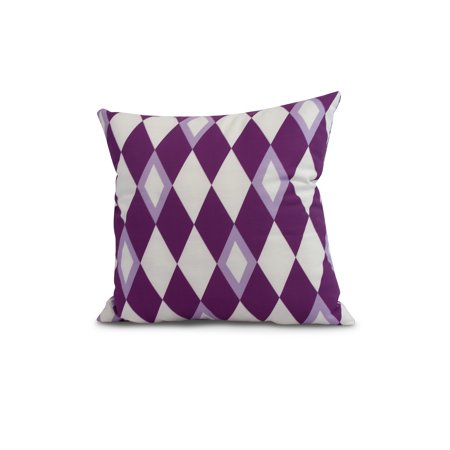 Image of Simply Daisy, 18 x 18 Inch, Harlequin , Geometric Print Outdoor Pillow, Purple