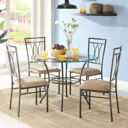 Glass Antique Dining Table Set (Mainstays 5-Piece Glass and Metal Dining Set)