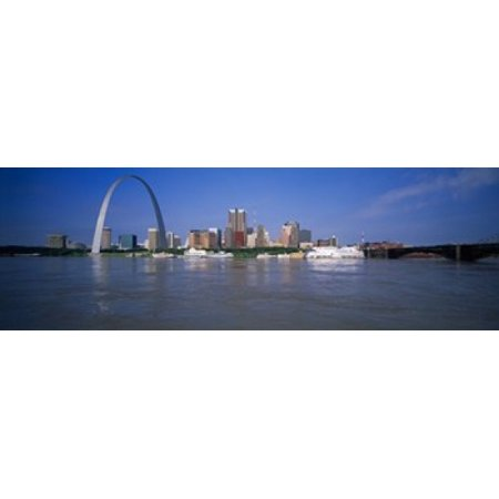 Gateway Arch and city skyline viewed from the Mississippi River St Louis Missouri USA Canvas Art - Panoramic Images (18 x 6)