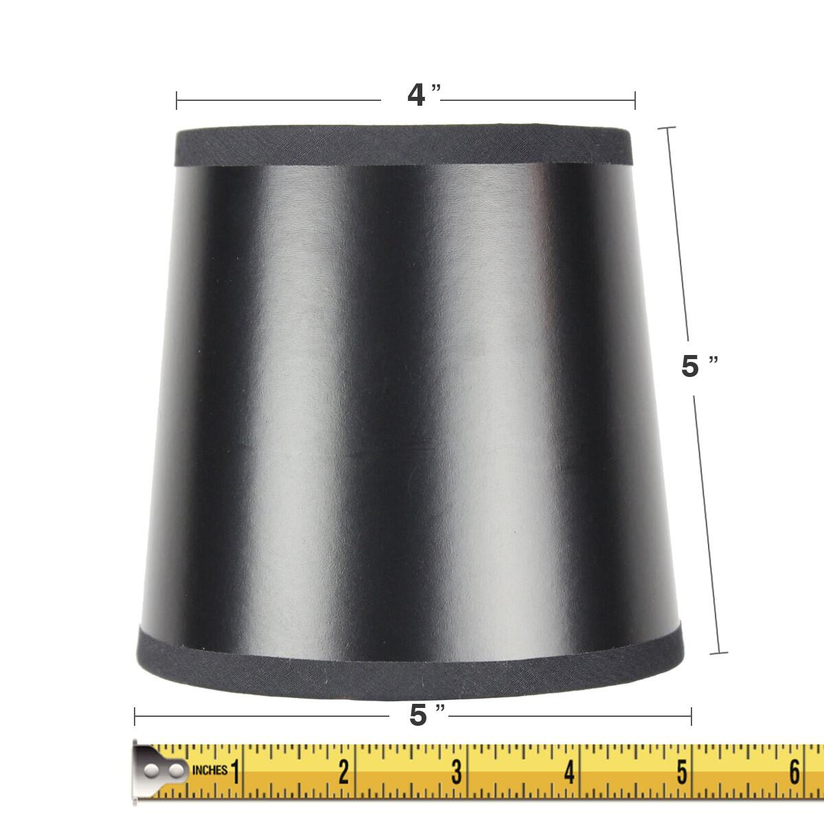 5x6x5 Black Parchment Gold-Lined Drum Chandelier Clip-On Lampshade